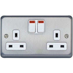 MK K2448MCO 2 Gang 13 Amp DP Switch Socket Matt Chrome