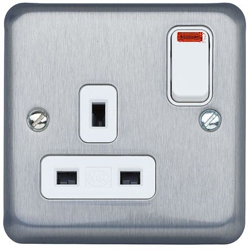 MK K2458MCO 1 Gang 13 Amp DP Switch Socket with neon Matt Chrome