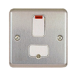 MK K961MCO 13a DP Switch Spur with neon indicator Matt Chrome