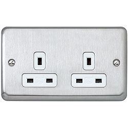 MK K733MCO 2 Gang 13 Amp DP Un-Switched Socket Matt Chrome