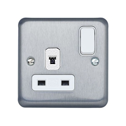MK K1258MCO 1gang 13amp Non Standard DP Matt Chrome Switch Socket