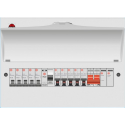 Wylex WNM1432NR NMRS8SSLMHIS 8 Way High Integrity+Type 2 SPD Flexible Busbar Consumer Unit Loaded with 8 MCB's