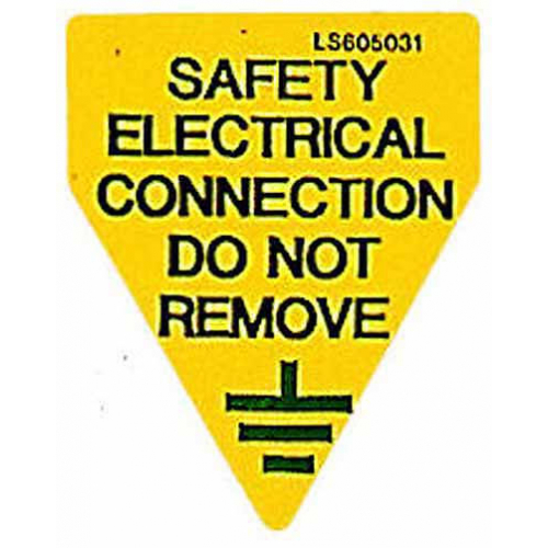 QLU LS605031 Yellow label Safety Electrical Connection Do Not Remove