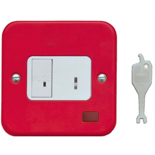 Contactum 3467RS 13 Amp DP Red Keyswitch flush metal