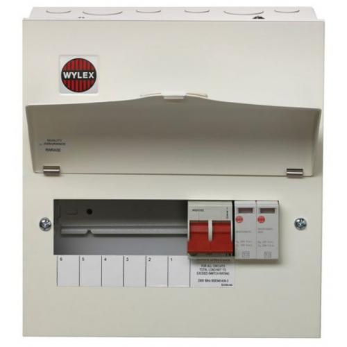 Wylex NM606FLEXS 100a Main switch+Type 2 SPD 6 Way Consumer Unit