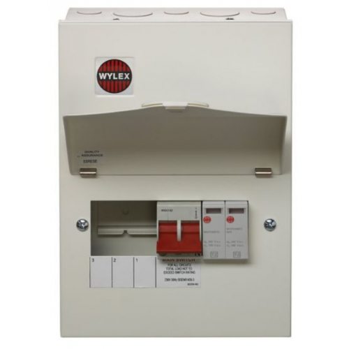 Wylex NM306FLEXS 100a Main switch+Type 2 SPD 3 Way Consumer Unit