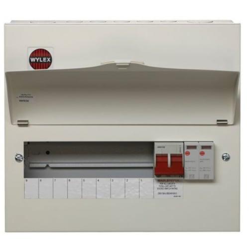 Wylex NM906FLEXS 100a Main switch+Type 2 SPD 9 Way Consumer Unit