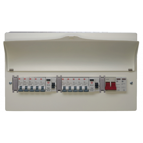 Wylex WNM1772 8 Way High Integrity+Type 2 SPD Flexible Busbar Consumer Unit Loaded with 8 MCB's