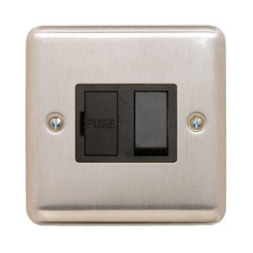 Contactum REF3366BSB Reflect 13a Switched Spur Brushed Steel