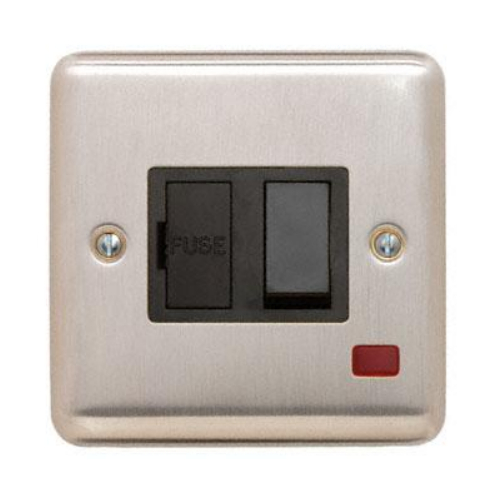 Contactum REF3367BSB Reflect 13a Switched Spur with Neon Brushed Steel