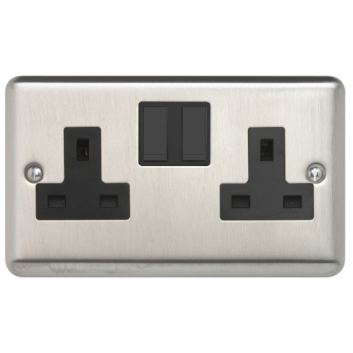 Contactum REF3356BSB Reflect 2g 13 Amp Switched Socket Brushed Steel