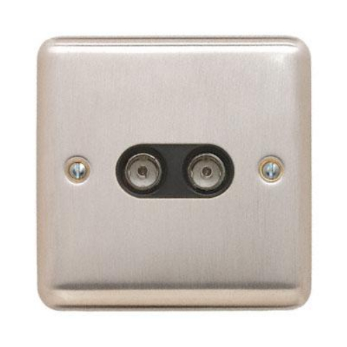 Contactum REF3148BSB Reflect 2g TV/FM Brushed Steel Socket