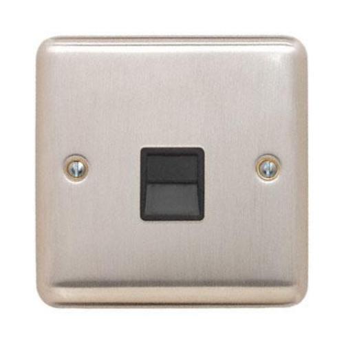 Contactum REF3169BSB Reflect Master Telephone Socket Brushed Steel