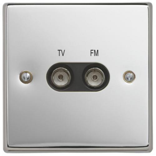 Contactum SIG3158PSB Signature TV/FM Diplexer Socket Polished Chrome