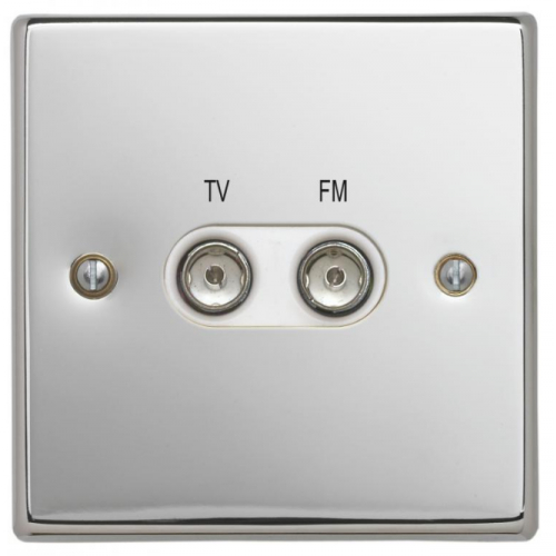 Contactum SIG3158PSW Signature TV/FM Diplexer Socket Polished Chrome