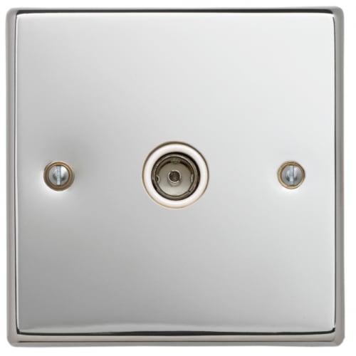 Contactum SIG3147PSW Signature 1g TV/FM Socket Polished Chrome