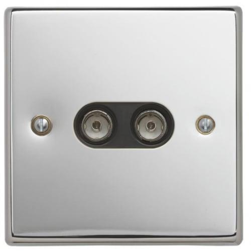Contactum SIG3148PSB Signature 2g TV/FM Socket Polished Chrome