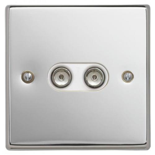 Contactum SIG3148PSW Signature 2g TV/FM Socket Polished Chrome