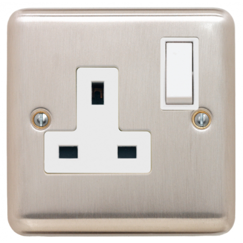Contactum REF3346BSW Reflect 1g 13 Amp Switched Socket Brushed Steel