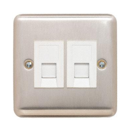 Contactum REF3181BSW Reflect Twin RJ45 CAT5e Data Socket Brushed Steel