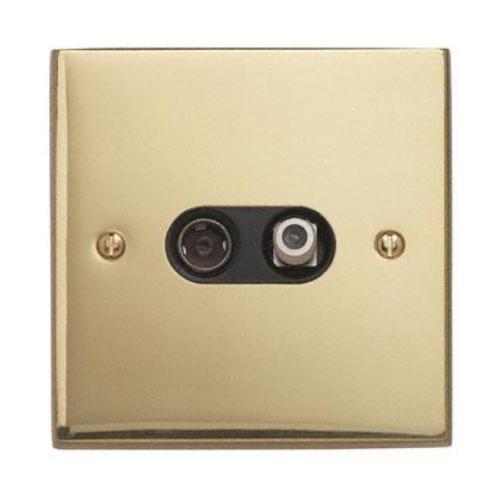 Contactum 3150EBB 2g Coaxial & Satellite Edwardian Brass TV Socket