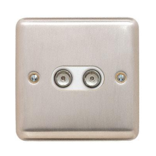 Contactum REF3148BSW Reflect 2g TV/FM Brushed Steel Socket