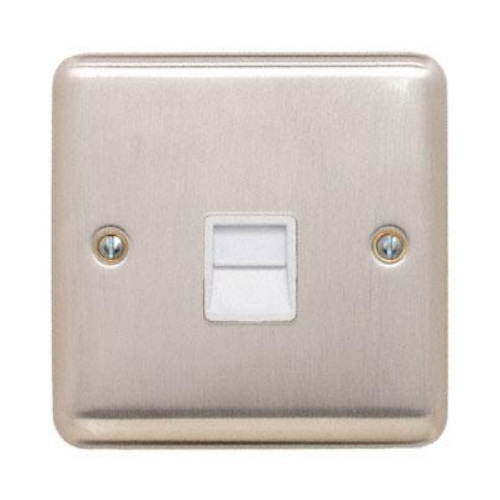 Contactum REF3169BSW Reflect Master Telephone Socket Brushed Steel