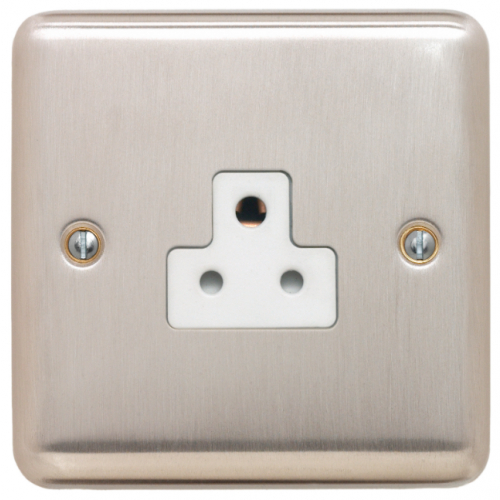 Contactum REF3315BSW Reflect 1gang 2amp Socket Brushed Steel