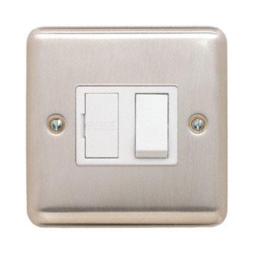 Contactum REF3366BSW Reflect 13a Switched Spur Brushed Steel