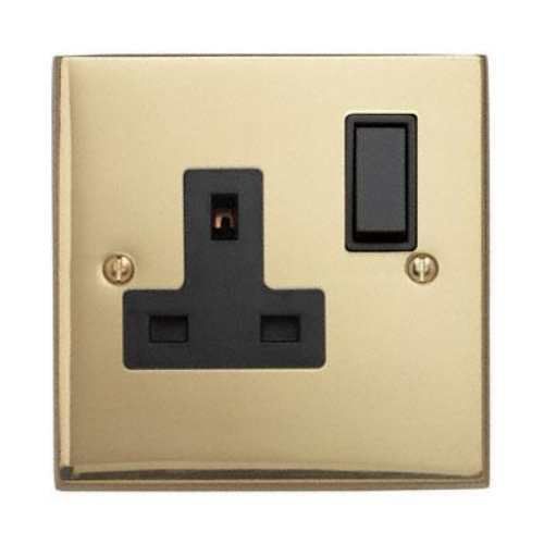 Contactum 3346EBB 1g 13 Amp Edwardian Brass Switched Socket