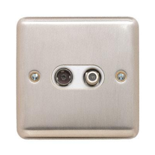 Contactum REF3150BSW Reflect TV Coaxial & Satellite Socket Brushed Steel