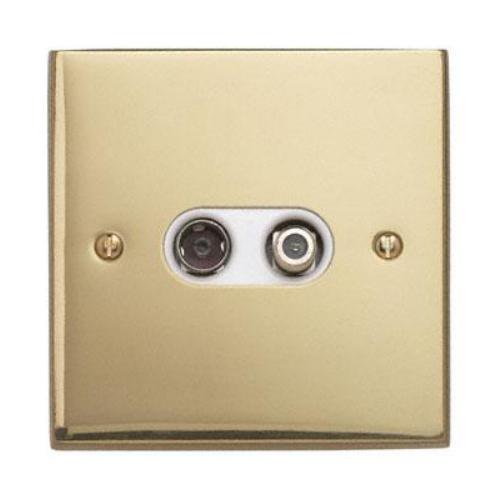 Contactum 3150EBW 2g Coaxial & Satellite Edwardian Brass TV Socket