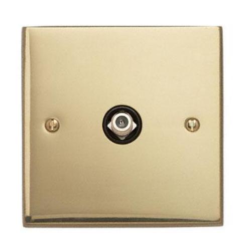 Contactum 3151EBB 1g Satellite socket Edwardian Polished Plain Brass