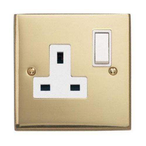 Contactum 3346EBW 1g 13 Amp Edwardian Brass Switched Socket