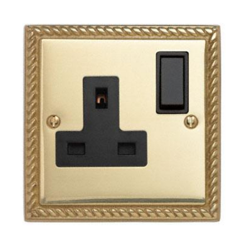 Contactum 3346GBB 1g 13 Amp Georgian Brass Switched Socket