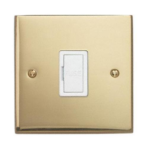 Contactum 3364EBW 13a Edwardian Plain Polished Brass Un-Switched Spur