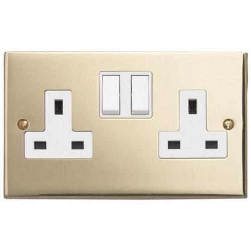 Contactum 3356EBW 2g 13 Amp Edwardian Brass Switched Socket