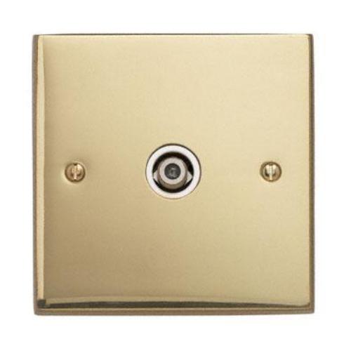 Contactum 3151EBW 1g Satellite socket Edwardian Polished Plain Brass