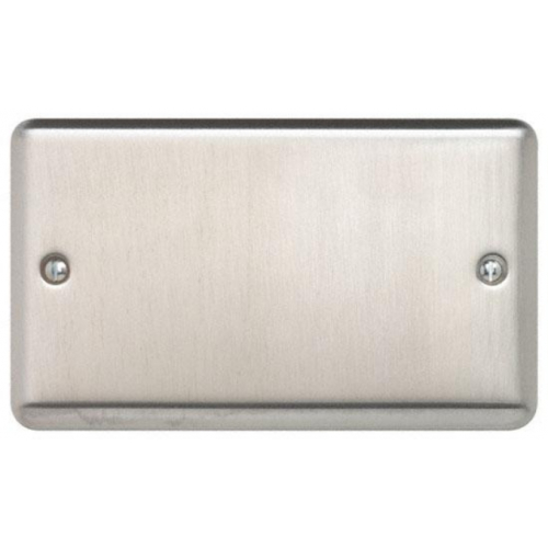 Contactum REF3027BS Reflect 2gang Brushed Steel Blank Plate