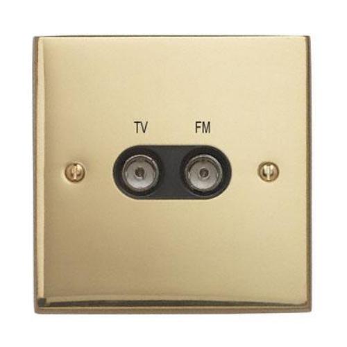 Contactum 3158EBB 1g plate TV & FM Diplexer Edwardian Brass Socket