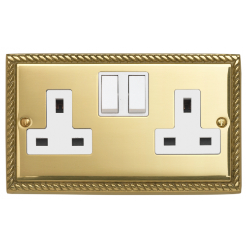 Contactum 3356GBW 2g 13 Amp Georgian Brass Switched Socket