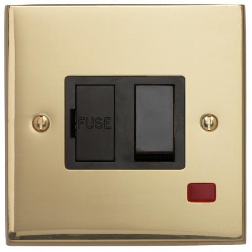 Contactum 3367EBB 13a Edwardian Plain Brass Switched Spur & Neon
