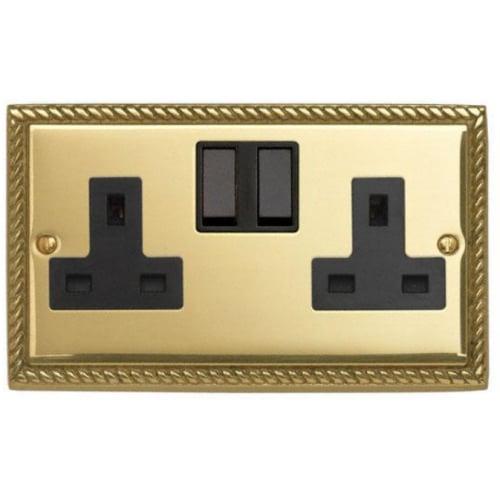 Contactum 3356GBB 2g 13 Amp Georgian Brass Switched Socket