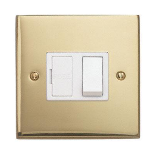 Contactum 3366EBW 13a Edwardian Plain Polished Brass Switched Spur