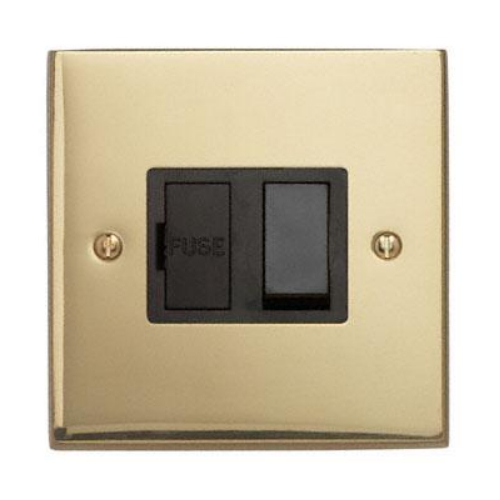 Contactum 3366EBB 13a Edwardian Plain Polished Brass Switched Spur