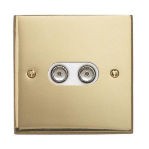 Contactum 3148EBW 2g TV or FM Coaxial Edwardian Rope Edge Brass Socket