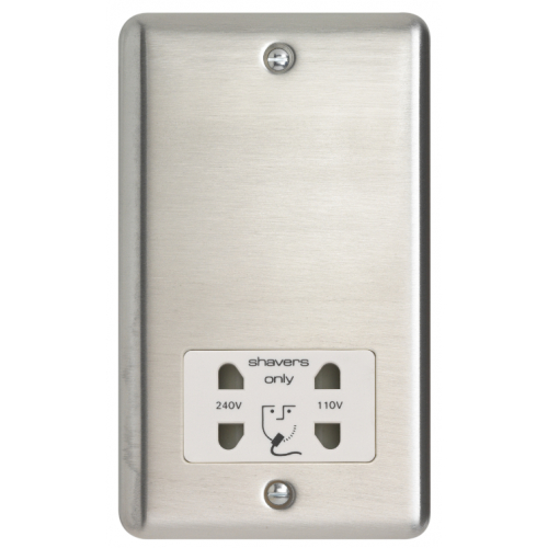 Contactum REF3300BSW Reflect 110/230v Shaver Socket Brushed Steel