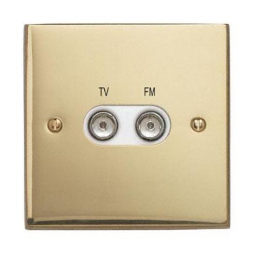 Contactum 3158EBW 1g plate TV & FM Diplexer Edwardian Brass Socket
