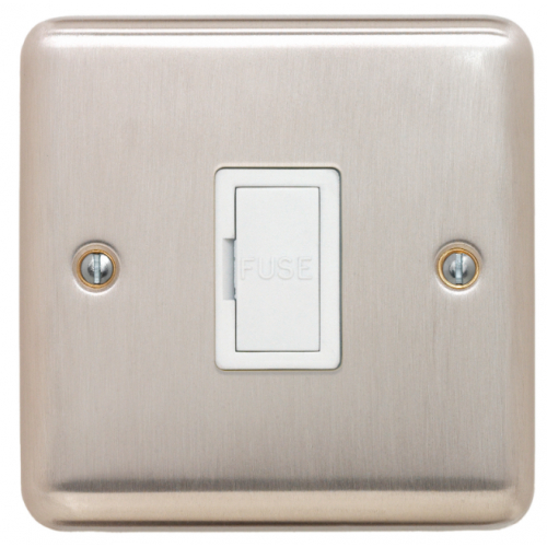 Contactum REF3364BSW Reflect 13a Un-switched Spur Brushed Steel