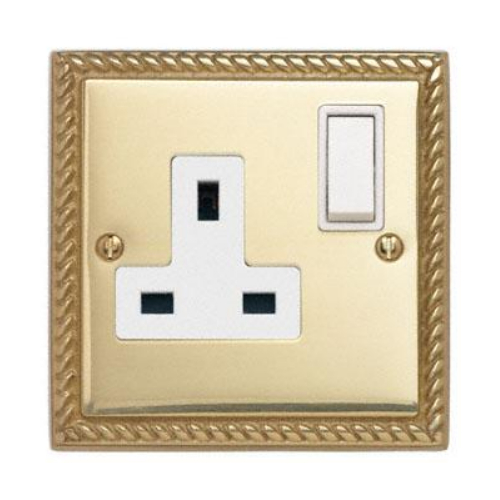 Contactum 3346GBW 1g 13 Amp Georgian Brass Switched Socket
